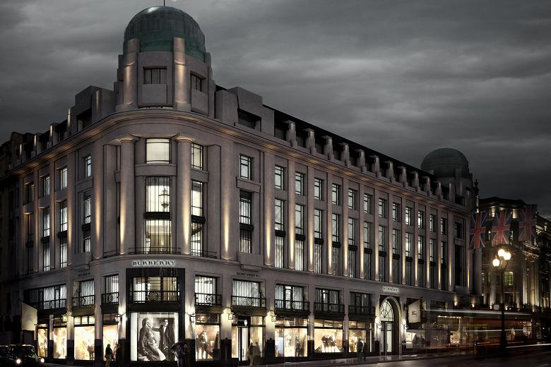 Burberry retail store on Regent Street, London with immersive shopping experience